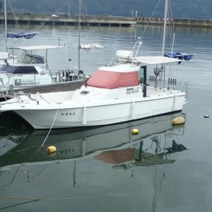 ようやく雨が上がり薄日がさしてきたので椋野漁港へ加奈丸Ⅱの様子を見に行ってきました。