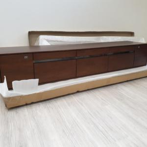 ウォールナット 突板 曲木 天板 テレビボード 引き出し収納 ガラススリットを入荷・検品・梱包・出荷・写真撮影