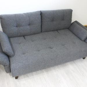 ソファーとしても、簡易ベッドとしても仕様可 背もたれが二段階に稼働し、肘が多段階に可動する自由度の高いグレーソファーベッドの商品ページ作成、アップロードを行いました