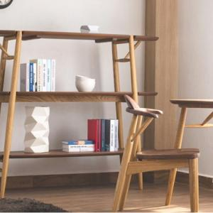 天然木ウォールナット・オーク材使用のデザイン性のある木質感あふれるオープンラック・シェルフ・飾棚 ツートンカラー送料無料W150cmのご紹介