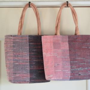 「アート・ぶらり~」に向けて 裂き織りのバッグ2個完成