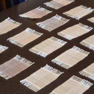 ぜんまい綿毛糸とケナフのミニコースター