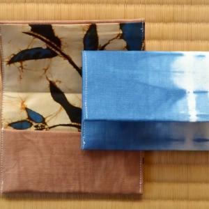 藍染め柿渋染め布と端切れで名刺入れとコースター
