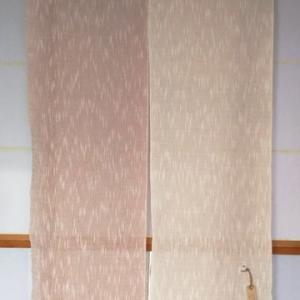 ヤマザクラ染めの暖簾を作る