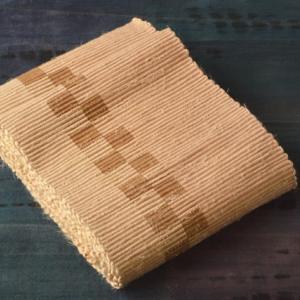 ヤマザクラ染め裂き織り半幅帯の完成