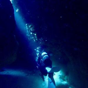 海の中で光を感じる