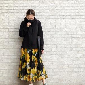 花柄スカート×UNIQLO+Jパーカーコーデ♩