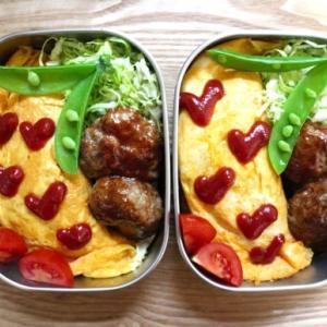 オムライスのお弁当とサラダパン