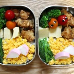 鶏のから揚げ弁当とアルコールディスペンサー