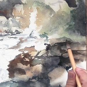 竜王峡 / 水彩動画 Mountain Stream / Watercolor Movie