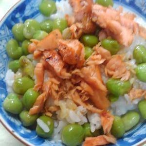 焼き鮭と塩えんどうかけご飯