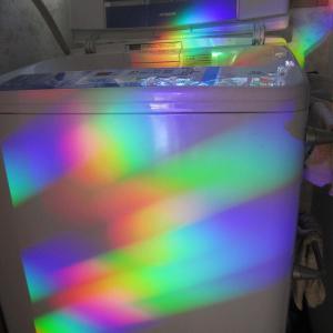 洗濯機に映える虹