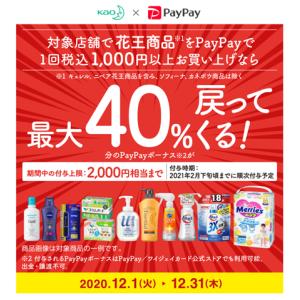またまた40%還元キャンペーン始まりました~花王製品をPayPayで購入すると最大2000円戻ってきます
