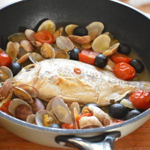 【れんこ鯛まる干しでアクアパッツァを作る】