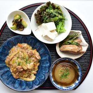 【写真で見る簡単レシピ】ひき肉餡かけと焦がし玉ねぎのスープで夕ごはん