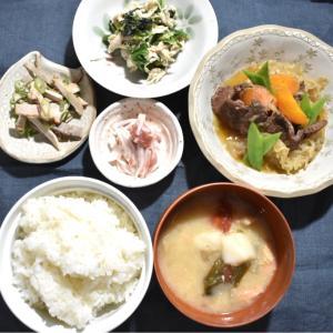 【写真で見る簡単レシピ】余ってる餅アレンジと山芋と梅はありますか??の夕ごはん