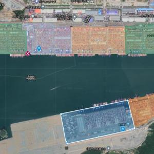 釜山新港の麻痺(2021春)の記事と、海上輸送の混乱の状況。