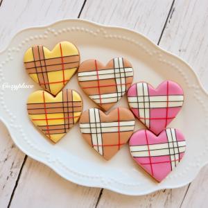 ♡秋色♪チェック柄アイシングクッキー♡