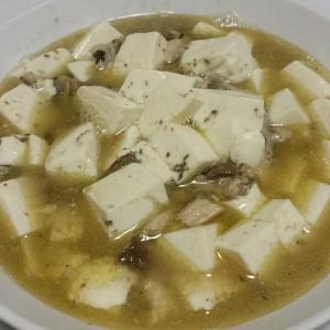 【今日の夕飯】いわし水煮と豆腐の煮つけ @ゆでたまご3個