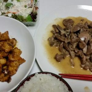 【今日の夕飯】鶏のスナギモ塩にんにく 鶏のボンジリ味噌味