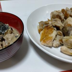 【今日の夕飯】 鶏もも肉炒め その2 @さば缶と低糖質パンとチョコレート