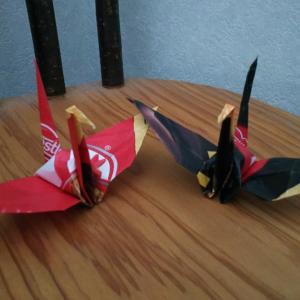 折り紙☆キットカットミニのパーッケージで作る鶴☆