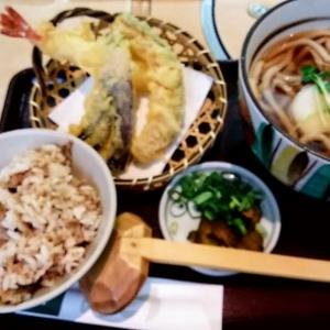 銀座木屋のランチセットの天ぷらがカリッと揚がっていて美味