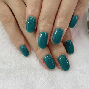 深海グリーンブルー☆スキンカラーで美人爪☆夏の砂浜☆