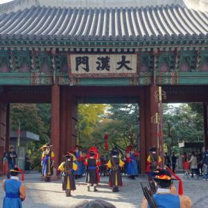 ギリギリ間にあった徳寿宮石垣道紅葉とキムジャン文化祭