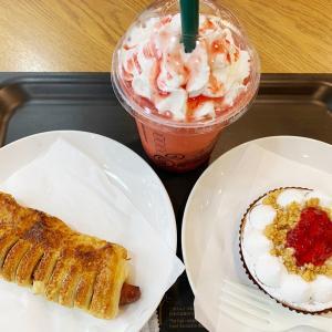 スターバックスコーヒー シュワッとイチゴフラペチーノ/いちごとレモンのタルト/あらびきソーセージ