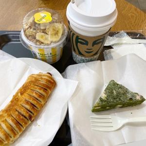 いつかのスタバ で あらびきソーセージパと抹茶ホワイトチョコバー!