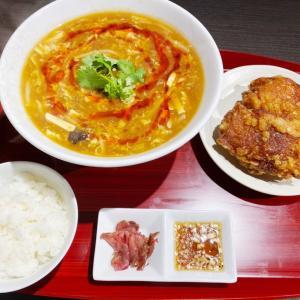 『布袋点心舗 弁財天』期間限定の酸辣湯麺は具だくさん!ザンギと共に満足なランチセット!