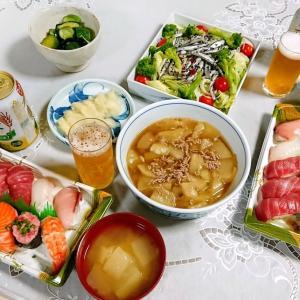 お寿司、夕顔づくし料理で晩酌(実家)