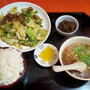 中華のんき「ばら肉とキャベツの味噌炒め定食ランチ」日曜日の日替わりランチ|いわき市のデカ盛り聖地