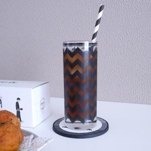 【ポーセラーツ】ガラス作品 シェブロン柄タンブラーと、栗マロンかぼちゃドーナツ