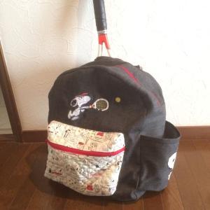 刺繍プロでスヌーピーのラケットバック
