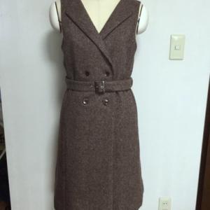 妻のリクエスト服が完成:ダブルボタンコート風ジャンパースカート