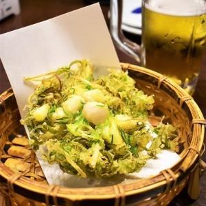 京都の1枚。夕食難民でようやく入店できた居酒屋で食べた「九条葱のかき揚げ」