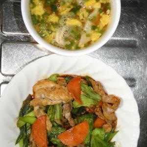 回鍋肉とワンタンスープ