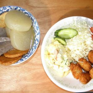 牡蠣フライと煮物