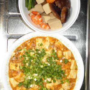 高野豆腐の煮物と麻婆豆腐