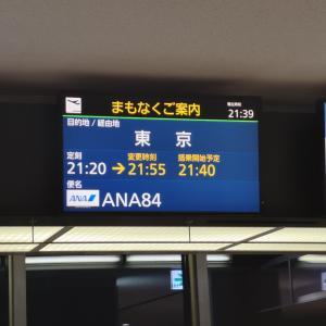 正月ANA旅作利用旅行記・札幌(千歳)ー羽田エコノミークラス(NH84便)遅延対応。2020年ANAダイヤモンド修行2便目。1月5日CTS-HND復路搭乗