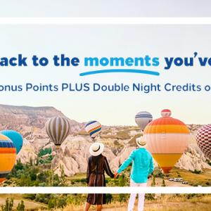 ステータスマッチ利用可能・ヒルトンダブルナイトキャンペーン。宿泊実績が倍になる・ステータス獲得チャンス。ポイントも2倍。Earn Double Bonus Points PLUS Double Night Credits every stay !