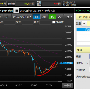 トルコリラ20円を突破(/・ω・)/ この快挙が一瞬ではなく今後の上昇につながることを期待!!