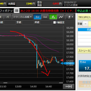 トルコリラ17円台に突入(´・ω・`) 利上げにより18円台まで復活した上昇をキープしつつ更に上を目指すことはできるのか!?