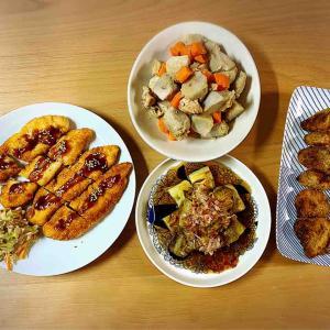 我が家の晩酌、里芋の親芋と鶏肉の煮物