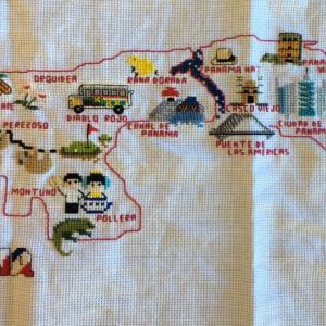 手芸:パナマの地図をクロスステッチで作ってみた