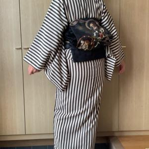 極妻風?(笑)単衣着物で写真展へ…アラカン佳子の着物コーデ