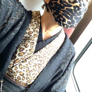 単衣のレオパード着物でいざ豊橋〜❣️gle縞秋冬新作着物オーダー会参戦記❣️