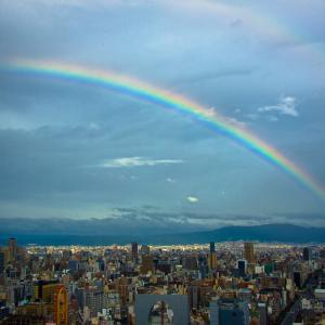 即位礼正殿の儀より4日前、大阪にも虹が!